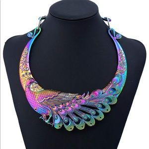 Iridescent peacock necklace. Statement piece.
